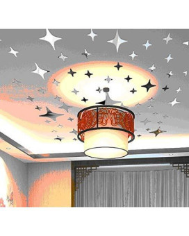 Alrens_Diy(Tm) Silver 50Pcs Twinkle Stars Ceiling Decor Crystal Reflective Diy Mirror Effect 3D Wall Stickers Home Tv Background Decal -4 Sizes (8.5Cm Length)