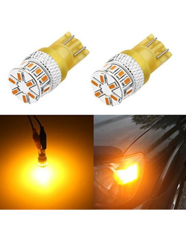 Alla Lighting Super Bright T10 194 Led Bulb High Power 3014 18-Smd 12V Led 194 168 2825 175 W5W Bulb Wedge For plate Interior Map Dome Trunk Cargo Side Marker Light, Amber Yellow (Set Of 2)