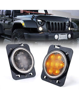 Xprite Led Amber Yellow Front Fender Side Marker Light Assembly With Smoke Lens For 2007-2018 Jeep Wrangler