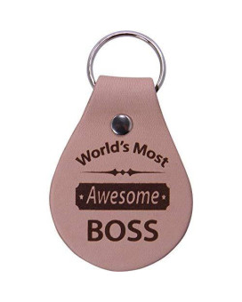 Customgiftsnow World'S Most Awesome Boss Leather Key Chain - Great Gift For Boss And Bosses Week