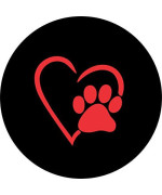 Tire Cover Central Dog Pet Paws Love Red Heart Spare Tire Cover For 255/75R17 Fits Camper, Jeep, Rv, Trailer, Etc(Drop Down Menu Or Contact Us