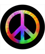 Tire Cover Central Peace Sign Tie Dye Spare Tire Cover Fits Camper, Jeep, Rv, Trailer, Etc(Drop Down Size Menu