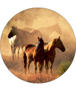 Tire Cover Central Horse Standing In Morning Mist Spare Tire Cover For 225/75R15 Fits Camper, Jeep, Rv, Trailer, Etc(Drop Down Size Menu
