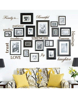 Set Of 12 Family Quote Words Vinyl Wall Sticker Picture Frame Wall Family Room Art Decoration #1332 (Matte Brown)