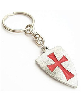 Solid Pewter Masonic Knights Templar Shield Keychain With Gift Pouch