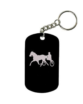 Personalized Engraved Custom Harness Horse Racing 2-Inch Colored Anodized Aluminum Customizable Keychain Dog Tag, Black