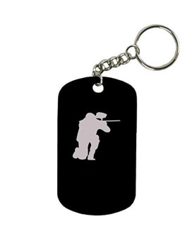 Personalized Engraved Custom Paintball 2-Inch Colored Anodized Aluminum Customizable Keychain Dog Tag, Black