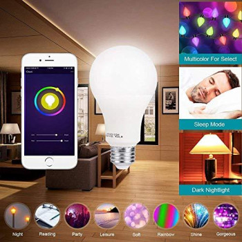 Smart Led Light Bulb A19 By 3Stone, E27 Wifi App Controlled Ul Listed, Dimmable Warm White And Rgb Colors 60W Equivalent, Works Perfect With carkart Alexa Google Assistant(1 Pack)