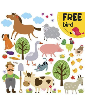 Farm Animal Barnyard Wall Decals For Kids - Farming Baby Room Children Stickers For Toddlers Bedroom [≫40 Art Playroom Clings] + Free Bird Gift!