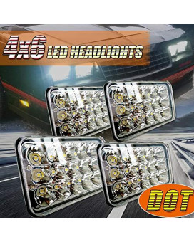 (4Pcs) Dot Approved 4X6 Inch Led Headlights Rectangular Replace H4651 H4652 H4656 H4666 H6545 For Peterbil 379 Kenworth T600 T800 W900 Freightinger Ford Probe Chevrolet Oldsmobile Cutlass