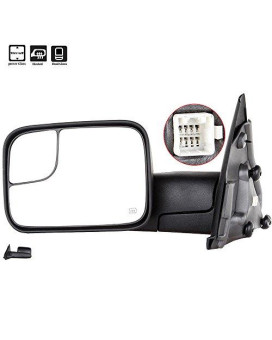 Scitoo Compatible Fit For Dodge Towing Mirrors Driver Side Rear View Mirrors 2002-2008 Dodge Ram 1500 2500 3500 Power Control Heated Manual Telescoping Manual Folding Feature
