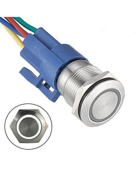 """Api-Ele [3 Year Warranty] 19Mm 0.74"""" 12V Latching White Angel Eye Halo Ring Led Metal Push Button Toggle Car Switch 1No1Nc Spdt With Wire Socket Plug"""