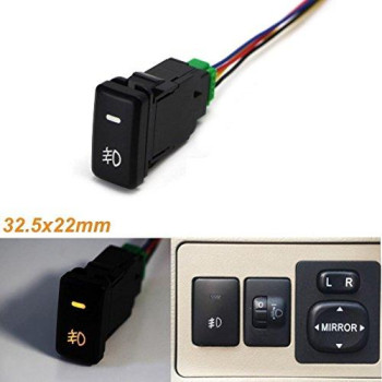 Xotic Tech Factory Style 4-Pole 12V Push Button Switch W/Led Background Indicator Lights For Fog Lights, Drl, Led Light Bar, (200 Series For Toyota, 32.5X22Mm)