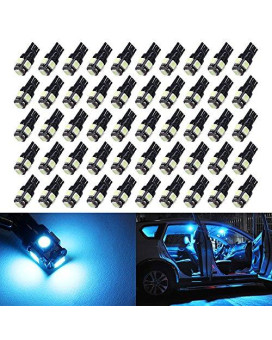 50X T10 Ice Blue Led Bulbs Wedge 5-Smd 5050 Chipsets W5W 2825 158 192 168 194 Led Bulb For Interior Reading Dome Map Trunk Door Doorstep Courtesy Instrument Panel plate Side Marker Lights.