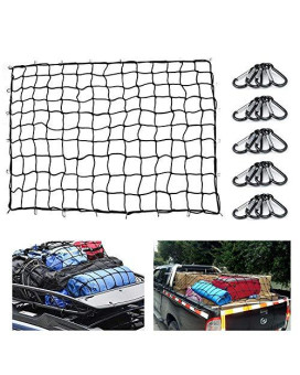 Heavy Duty Bungee Cargo Net 5'X7' Truck Bed Nets Stretches To 10'X14' Suv Cargo Net For Rooftop Cargo Carrier With 20 Pcs D Clip Carabiners For Pickup Truck Suv Trailer Boat Rv