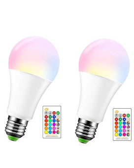 15W Led Color Changing Light Bulb, Abedoe E26 E27 Dimmable Rgbw Led Light Bulbs With Remote Control, 60 Watt Equivalent,Battery Of Controller Not Included (Pack Of 2)