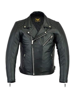 A&H Apparel Mens Leather Motorcycle Jacket Genuine Cowhide Zip Out Lining Jacket (X-Large)