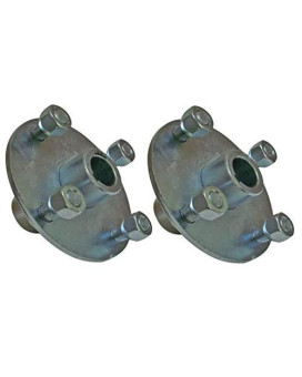 """Set Of 2-4X4 Galvanized Wheel Hubs 1"""" Bore With Lug Nuts For Go Karts Trailers Lawn Equipment"""