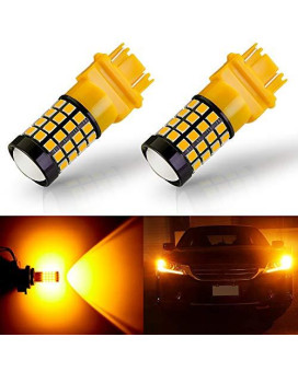 Antline Newest 3157 Led Bulb Amber Yellow (2 Pack), 9-30V Super Bright 1600 Lumens 3156 3057 3056 4057 52-Smd Led Lamps With Projector For Replacement, Work As Turn Signal Blinker Side Marker Lights
