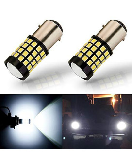 Antline Newest 1157 Led Bulb White (2 Pack), 9-30V Super Bright 1600 Lumens 2057 2357 7528 Bay15D 52-Smd Led Lamps With Projector For Replacement, Work As Back Up Reverse Brake Tail Turn Signal Lights