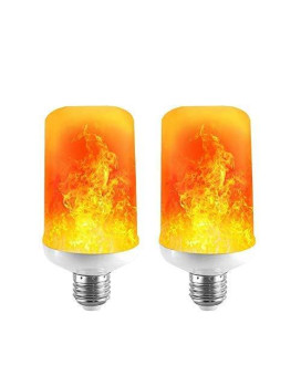 Led Flame Effect Light Bulb - 7W E26 Standard Base 4 Modes Simulated Realistic Burning Fire Light For Home/Outdoor/Hotel/Bar/Party Especially In Festivals, Birthday, Halloween, Christmas(2 Pack)
