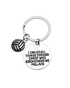 Volleyball Charm Keychain, Christian Faith Charm Keychain, I Can Do All Things Through Christ Who Strengthens Me Phil. 4:13 Scripture Jewelry, Volleyball Gifts For Women And Girls