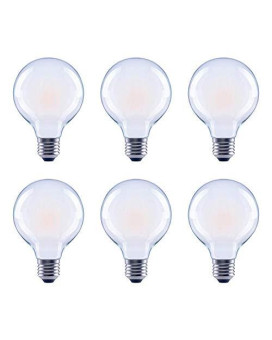 Asencia An-03679 40 Watt Equivalent G25 Globe Frosted All Glass Vintage Filament Dimmable Led Light Bulb, Soft White, 6-Pack