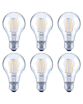 Asencia An-03668 40-Watt Equivalent A19 Clear All Glass Vintage Filament Dimmable Led Light Bulb, 6-Pack, Daylight (5000K)