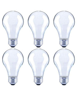Asencia An-03673 60 Watt Equivalent A19 Frosted All Glass Vintage Filament Dimmable Led Light Bulb, 6-Pack, Daylight (5000K)