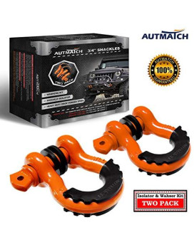 "Autmatch Shackles 3/4"" D Ring Shackle (2 Pack) 41,887Ib Break Strength With 7/8"" Screw Pin And Shackle Isolator & Washers Kit For Tow Strap Winch Off Road Towing Jeep Vehicle Recovery Orange"