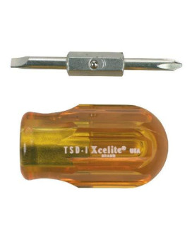 "Xcelite TSD1V Two-in-One Slotted Stubby Screwdriver, 3/16"" Head, 1-1/4"" Blade Length"