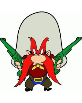 "Yosemite Sam Cartoon Car Bumper Sticker Decal 5""X 5"""