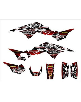 Honda TRX250R Graphics Decal kit 1986-1989 by Allmotorgraphics NO2500 Red