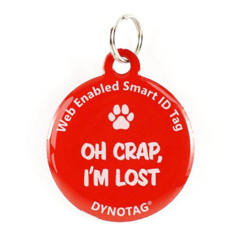 "Super Pet Tag - Polymer Coated Stainless Steel, Color Red: ""Oh Crap, I'M Lost"""