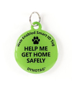 "Super Pet Tag - Polymer Coated Stainless Steel, Color Green: ""Help Me Get Home Safely"""