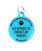 "Super Pet Tag - Polymer Coated Stainless Steel, Color Blue: ""See Reverse To Contact My Parents"""
