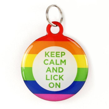 "Super Pet Tag - Polymer Coated Stainless Steel, Play Series: ""Keep Calm!"""
