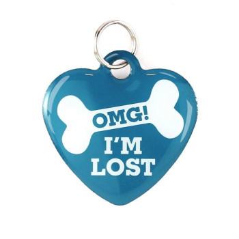 """Super Pet Tag - Polymer Coated Stainless Steel, Play Series, Heart Shape: """"Omg! I'M Lost"""""""