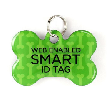 "Super Pet Tag - Polymer Coated Stainless Steel, Play Series, Bone Shape: ""Classic Green"""