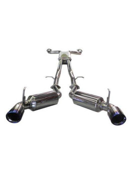 SES1987TT-Nissan Dual 60mm S.S. cat-back system w/built-in resonated X-pipe, custom molded S.S.Flanges, embossed