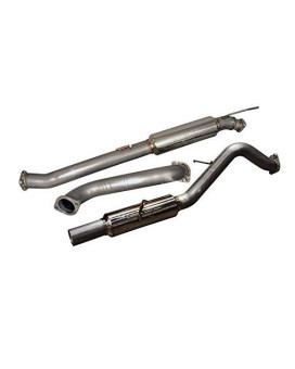 SES9016-Ford -Full 76mm S.S. cat-back exhaust with S.S molded flanges and S.S. burnt tip with rolled edge