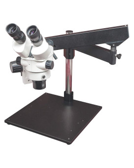 LW Scientific Z4 Zoom Binoc 3.5x-45x with 0.5x lens on artic-heavy-base boom (no light)