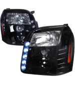 HALO PROJECTOR HEADLIGHT GLOSS BLACK HOUSING SMOKE LENS - 2LHP-DEN07G-TM
