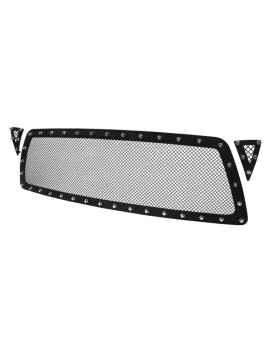 3PC GRILLE INSERT - RIVET STYLE - STEEL/BLACK - NO DRILLING