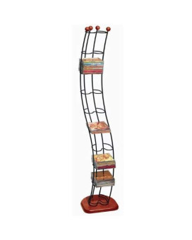 Atlantic Wave Multimedia Wire Tower - Hold 110 Cds In Steel And Black Cherry Wood, Pn1316