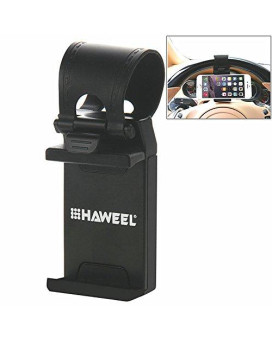 Car Mount, Haweel Car Steering Wheel Mobile Phone Stand Holder Mount Clip Buckle Socket Hands Free For Iphone 7/7 Plus, Iphone 6 / 6S, Samsung And All 2.1-3.4 Inches Width Smartphone(Black)