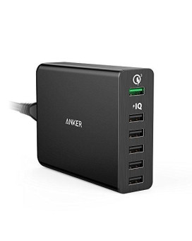 Xinksd Quick Charge 3.0 60W 6-Port Usb Wall Charger, Powerport+ 6 For Galaxy S9/S8/S7/S6/Edge/Plus, Note 5/4 And Poweriq For Iphone Xr/X/8/7/6S/Plus, Ipad Pro, Lg, Nexus, Htc And More Black