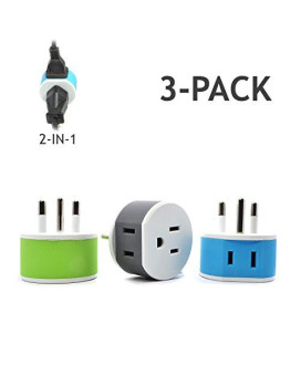 Thailand Power Plug Adapter By Orei With 2 Usa Inputs - Travel 3 Pack - Type O (Us-18) Safe Grounded Use With Cell Phones, Laptop, Camera Chargers, Cpap, And More