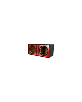 Absolute Usa Pdeb12R Dual 12-Inch 3/4-Inch Mdf Twin Port Subwoofer Enclosure With Red High Gloss Face