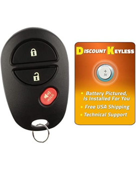 Discount Keyless Replacement 3 Button Automotive Keyless Entry Remote Control Transmitter Compatible with Toyota Vehicles GQ43VT20T